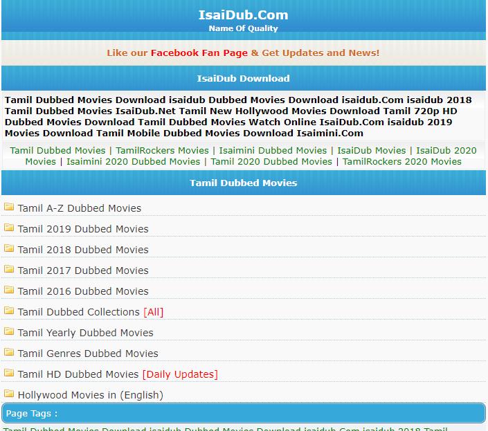 Isaidub Website Homepage