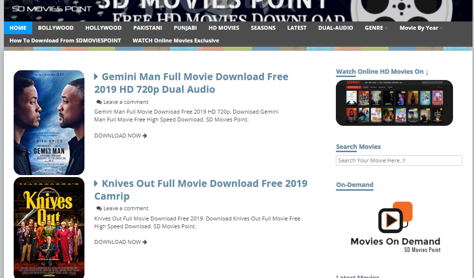 Sdmoviespoint Website Home page