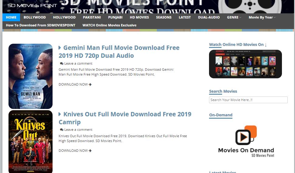 Sdmoviespoint Website Home page
