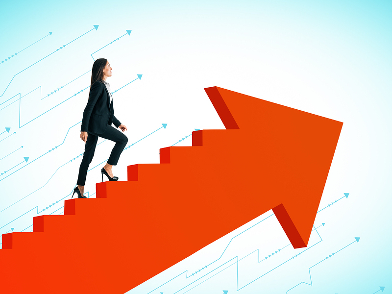 Young Businesswoman Climbing Abstract Red Arrow Ladder On Sky Background. Career Promotion And Succe