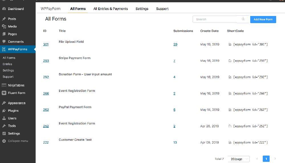 WPPayForm Page